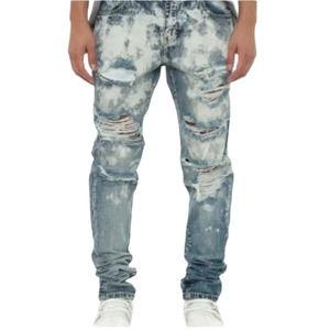 EMBELLISH Size 30 Ripped Denim Handcrafted Acid Wash Jeans Bleached Biker Jeans